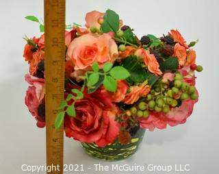 """Faux Red & Pink Camilla Flowers in Glass Vase; 9""""T"""