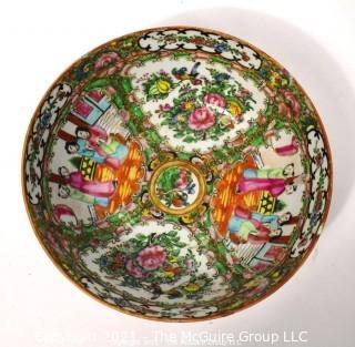 "Antique Asian Chinese Famille Rose Medallion Porcelain Bowl; 9 1/2"" diameter at rim x 4""T"