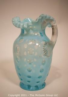 """Aqua-Blue Bubble Glass Pitcher; 9 3/4""""T"""