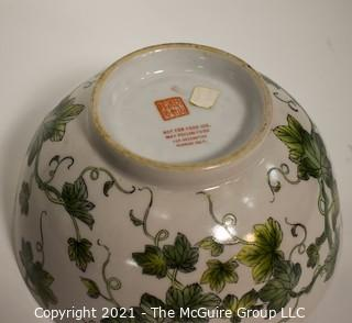 """Porcelain Asian Stamped Ivy Painted Bowl; 10"""" diameter."""