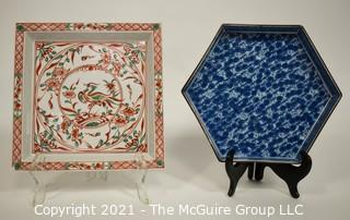Two (2) Hand Painted Porcelain China Asian Platters or Trays.  One has a Small chip on corner.