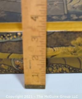 "Gilt Asian Painted Lacquer Lined Box; 14 X 14 x 3""T"