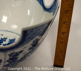 """Blue & White Porcelain """"Monteith"""" Bowl Signed Mottahedeh with Turrets Display Punch Bowl.  Comes with silver plated stand now shown. A reproduction of a Metropolitan Museum of Art original, this unusual shape was one designed to hold wine glasses; 12 1/2"""" diameter x 6""""T"""