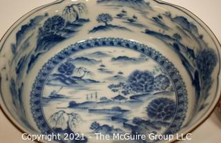 Two (2) Porcelain Asian Stamped Mountian Scene Hand Painted Bowls.