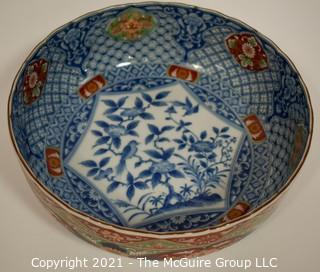 """Porcelain Asian Stamped Hand Painted Bowl; 10"""" diameter."""