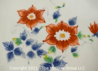 "Four (4) Porcelain Asian Stamped Hand Painted Flower Trays or Plates; 8"" x 7""."