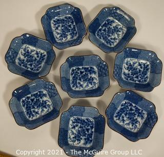 Eight (8) Small Porcelain Asian Stamped Hand Painted Blue & White Bowls.