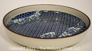 """Porcelain Asian Stamped Hand Painted Blue & White Tray or Platter; 10"""" diameter."""