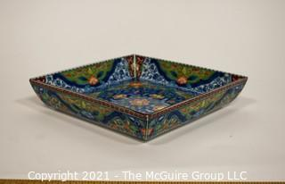"Porcelain Asian Stamped Hand Painted Tray or Platter; 10"" diameter."