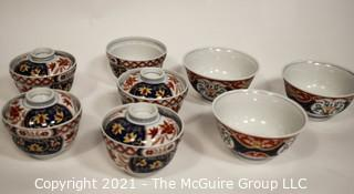 Porcelain Asian Stamped Hand Painted Bowls and Tea Cups with Lids.