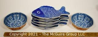 Porcelain Asian Stamped Hand Painted Blue & White Serving Bowls and Fish Shaped Plates.