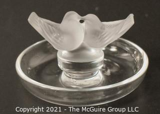"Lalique Love Bird Ring or Pin Dish.  Measures approximately 5"" diameter."