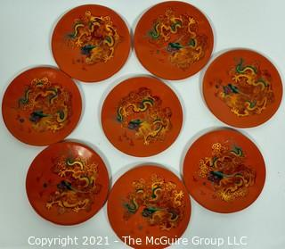 Asian Lacquerware:  Includes Set of Eight (8) Red Dragon Lacquered Dishes & One (1) Cranes in Flight Lacquer Lacquer Tray with Rim.