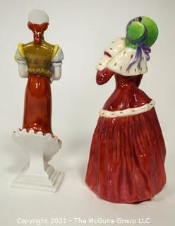 """Two (2) Small Porcelain Figurines - Royal Doulton """"Christmas Morn"""" & Herend made om Hugary Mother and Child with small Chip."""