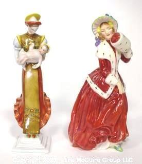 "Two (2) Small Porcelain Figurines - Royal Doulton ""Christmas Morn"" & Herend made om Hugary Mother and Child with small Chip."