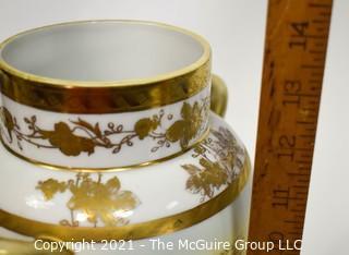 """Vintage Nippon Hand Painted Landscape Scene with Gilt Trim Porcelain Double Handled Urn Shaped Vase; 14""""T"""