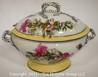 """Large Hand Painted Heinrich & Co. (H & Co.) Stamped Porcelain Soup Tureen with Lid; 12 1/2W x 9""""T"""