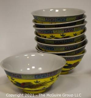 Large Collection of Yellow Chinese Embossed Porcelain China.