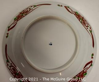 """Porcelain Asian Stamped Hand Painted Red & White Bird Plate; 12"""" diameter."""