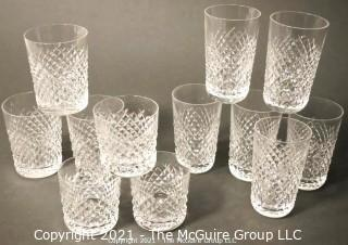 "Waterford Crystal Alana Pattern: <br> <br>    (6) 5"" tall Flat Tumblers <br>   (3) 4 3/8 Double Old Fashions <br>  (3) 3 3/8 Old Fashions"
