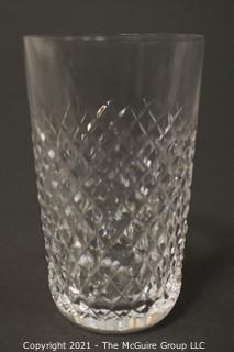 """Waterford Crystal Alana Pattern: <br> <br>    (6) 5"""" tall Flat Tumblers <br>   (3) 4 3/8 Double Old Fashions <br>  (3) 3 3/8 Old Fashions"""