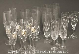 "Collection of Stemware:<br><br> (7) 8 1/2"" Beer Glasses<br> (6) 8"" Perrier Jouet<br> (2) 7 5/8"" Etched Champagnes<br> (3) 7 1/2"" Champagnes<br> (2) 9"" Champagnes"