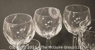 "Waterford Crystal - Curraghmore Pattern: <br> <br> (6) water goblets; 7 1/2"" <br> (6) hock wine; 7 1/2"" <br> (3) sherry; 6 3/8"