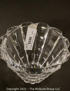 "Orrefors Swedish Crystal Vase in Wave Pattern; 5 1/2""T x 7"" diameter."