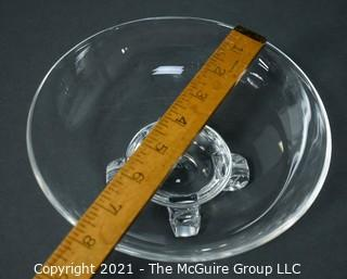 """Signed Steuben Glass footed bowl; 7 3/4"""" wide x 3"""" tall"""""""