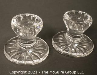 """Pair of Waterford Cut Crystal Lismore Hurricane Lamp Shades and Matching Candle Stick Base (Total of 4 Pieces); total height 9 1/2"""" tall"""