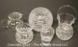 Group of Six (6) Clear Crystal Items.  Includes Vases, Bowls and Pitchers.