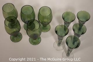 "(10) Hand Blown Green Glass Stems: 5 - 7 1/2""T; 5 - 7 3/4""T"