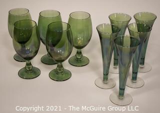 "(10) Hand Blown Green Glass Stems: 5 - 7 1/2""T; 5 - 7 3/4""T"