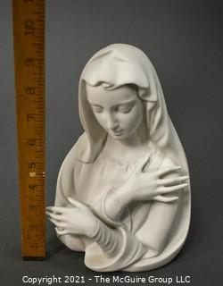 """Boehm """"La Pieta Madonna"""" Virgin Mary Porcelain Bisque Figurine Or Bust.  Measures approximately 9 1/4"""" tall."""