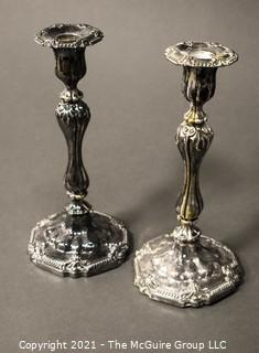 """Pair of Large Silver Plated Candlesticks; 11""""T"""