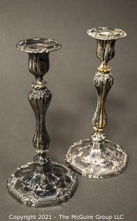 "Pair of Large Silver Plated Candlesticks; 11""T"