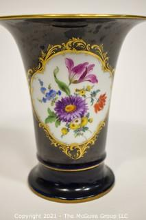 "Meissen Cobalt Porcelain Trumpet Vase with Flowers Design; 6 1/4""T"