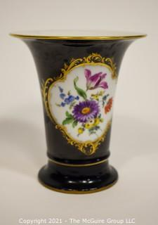 "Meissen Cobalt Porcelain Trumpet Vase with Flowers Design; 6 1/4""T"