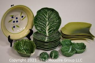 Group of Porcelain Serving and Dinner Ware Items.  Includes Crate and Barrell Lotus Form Plates and Cabbage Ware.