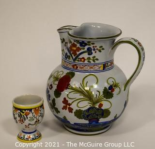 Faïence Water Pitcher and Cup; hallmarked