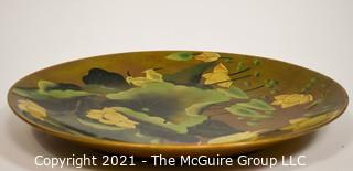 """Hand painted and lacquered charger; 16"""" diameter (TMG business card placed for perspective)"""