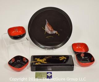 Group of Decorative Items:  Includes Asian Black Lacquer Ware Glove Box, Couroc Inlaid Bakelite Tray with Pheasant & Four (4) Asian Designed Ceramic Bowls.