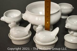 Collection of Ceramic Cookware Including Bodum Tureen, (3) Sur la Table Soup Bowls and (2) Covered Apilco Chicken & Duck Casserole Dishes.