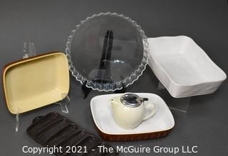 Assorted Cook & Bakeware. Includes Arcuisine Clear Tart Dish, Wagner Ware Krusty Corn Kobs Cast Iron Baking Pan,