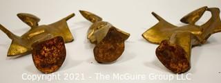 "Mid Century Grouping of Three Stylized Bronzed Cast Iron Japanese Geisha Figurines; 9""T"