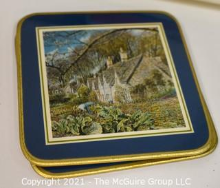 Eclectic Collection including Several Porcelain Trinket Boxes, NIB WH Christmas Ornament, Trivet, Serving Tray and Coasters