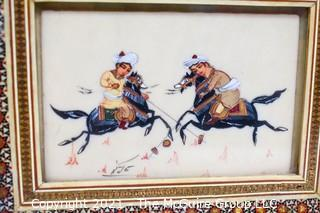 Two (2) Vintage Persian Paintings on Bone Signed by Artist in Khatam Marquetry Frame of a Game of Chovgan.  Each measures approximately 6 x 8""
