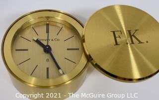 Tiffany & Co. Windup Alarm Clock; Swiss Made; monogrammed