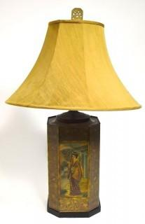 """C.G. Schierholz Germany Porcelain Asian Style Table Lamp with Shade; 29""""T"""