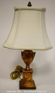 Contemporary Gilt Urn Shaped Table Lamp with Shade.